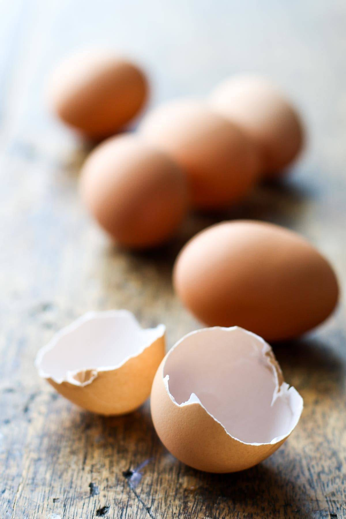 Eggs and egg shells.