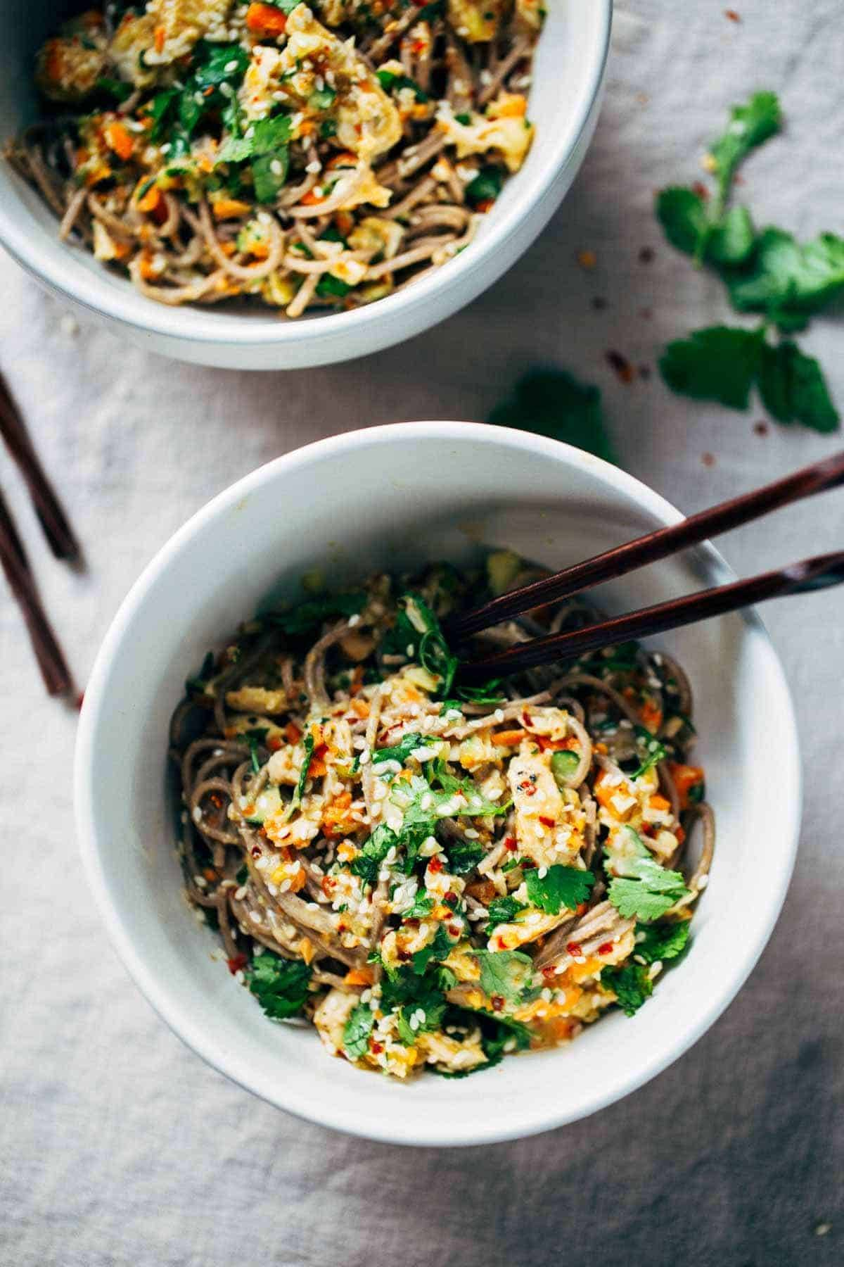 Chopped Chicken Sesame Noodle Bowls - Pinch of Yum