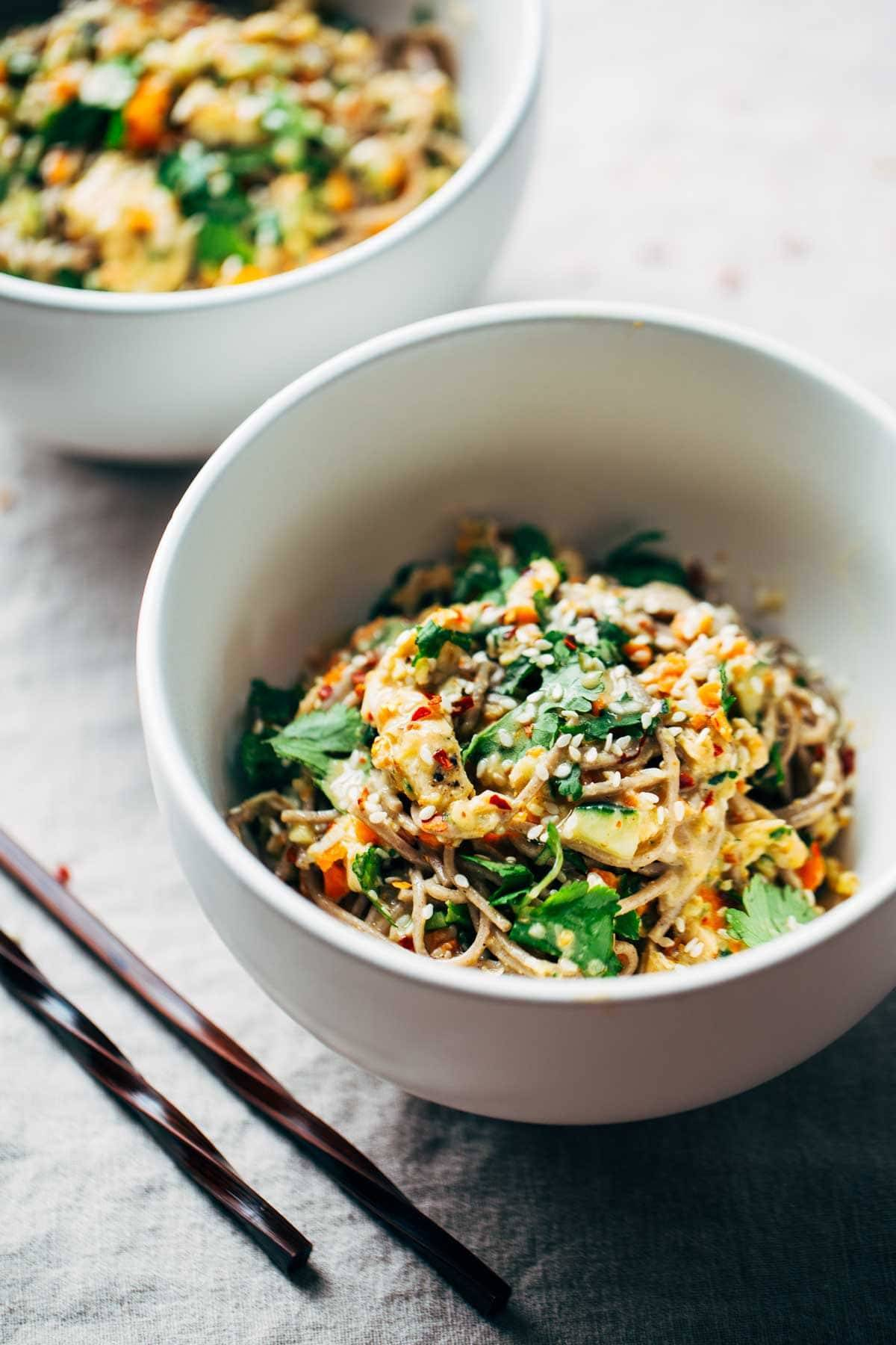 Chopped Chicken Sesame Noodle Bowls.