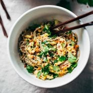 Chopped Chicken Sesame Noodle Bowls with chopsticks.