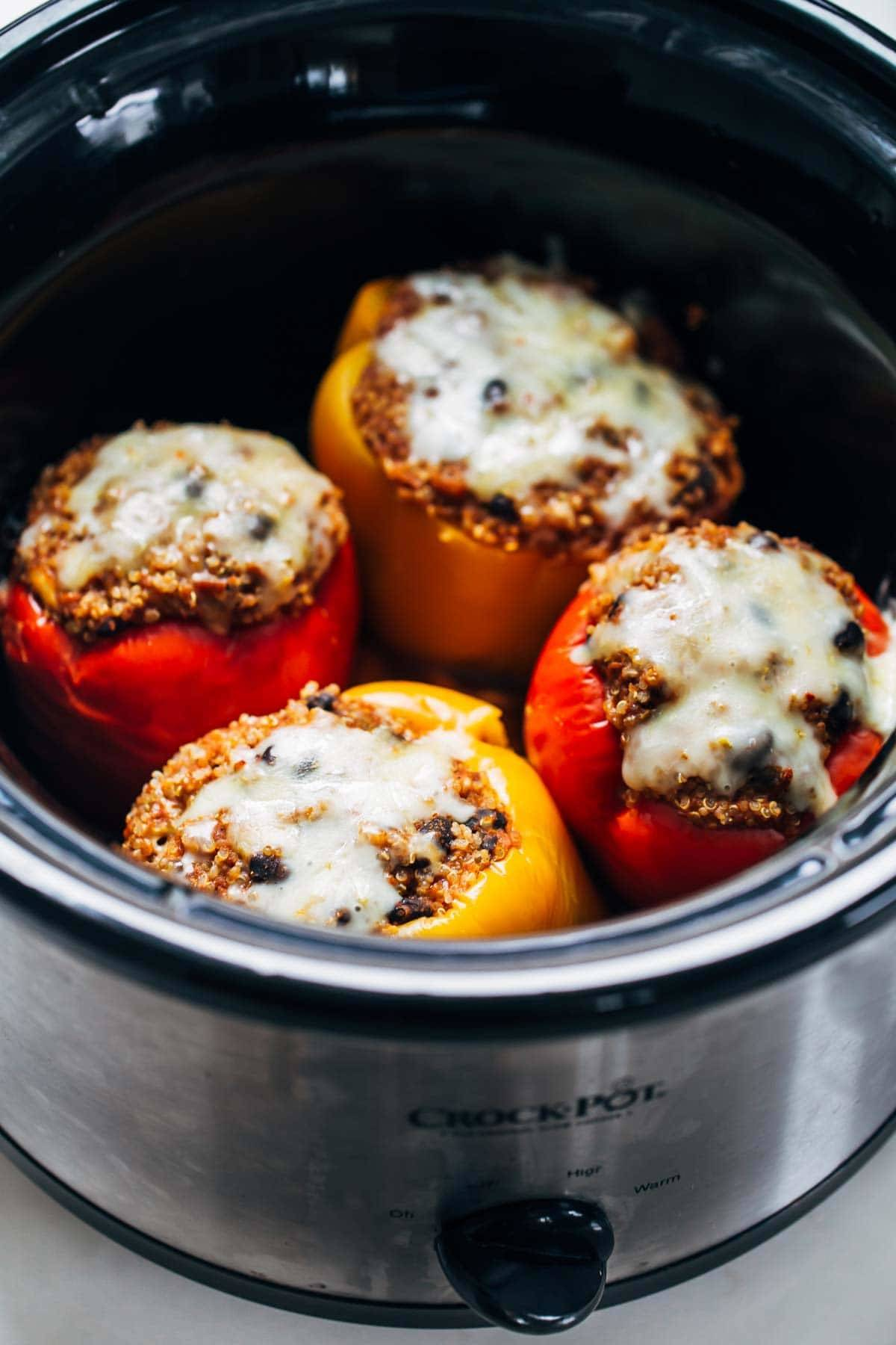 Quinoa Black Bean Crockpot Stuffed Peppers in a crockpot.