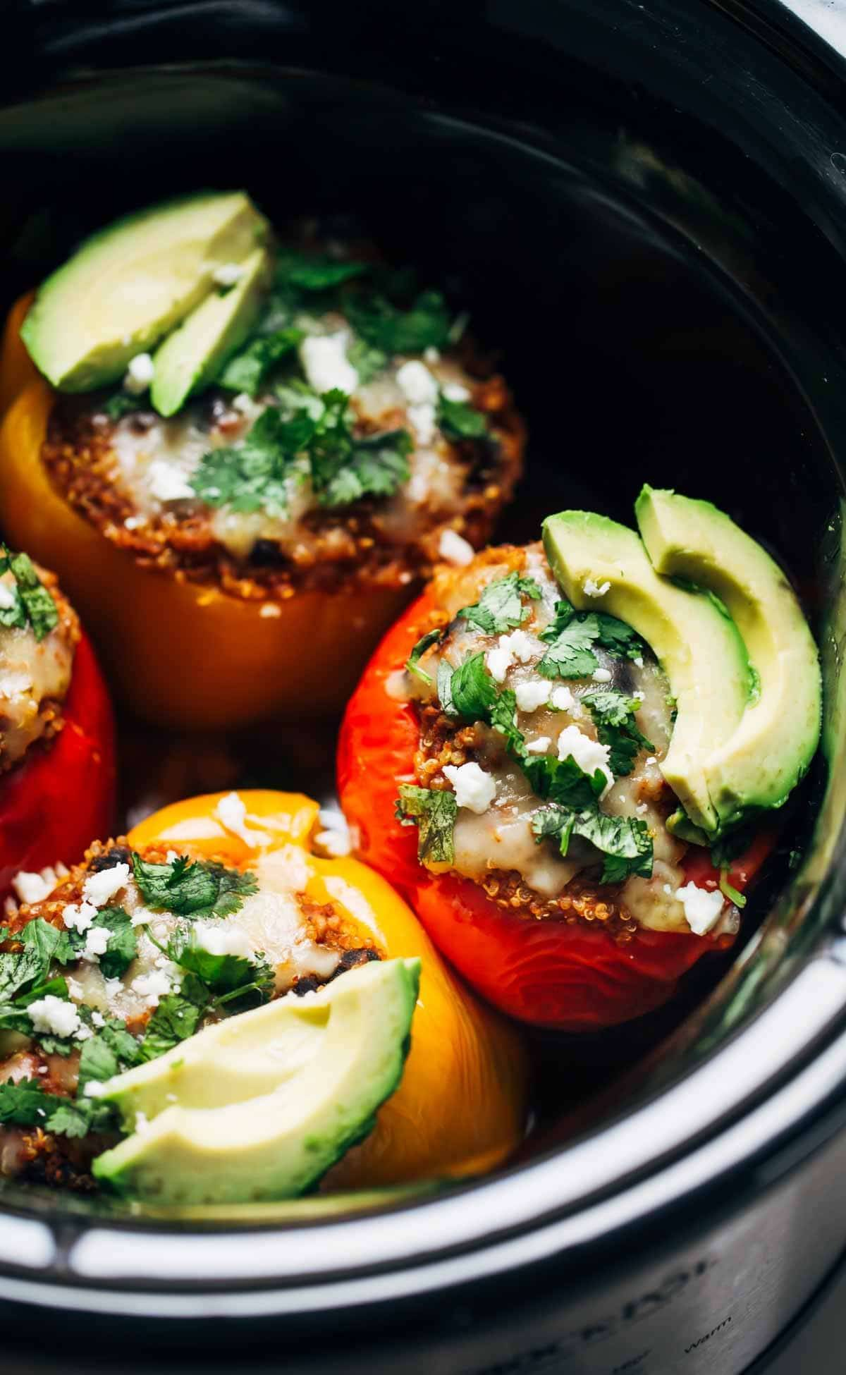 Quinoa Black Bean Crockpot Stuffed Peppers in a crock pot.