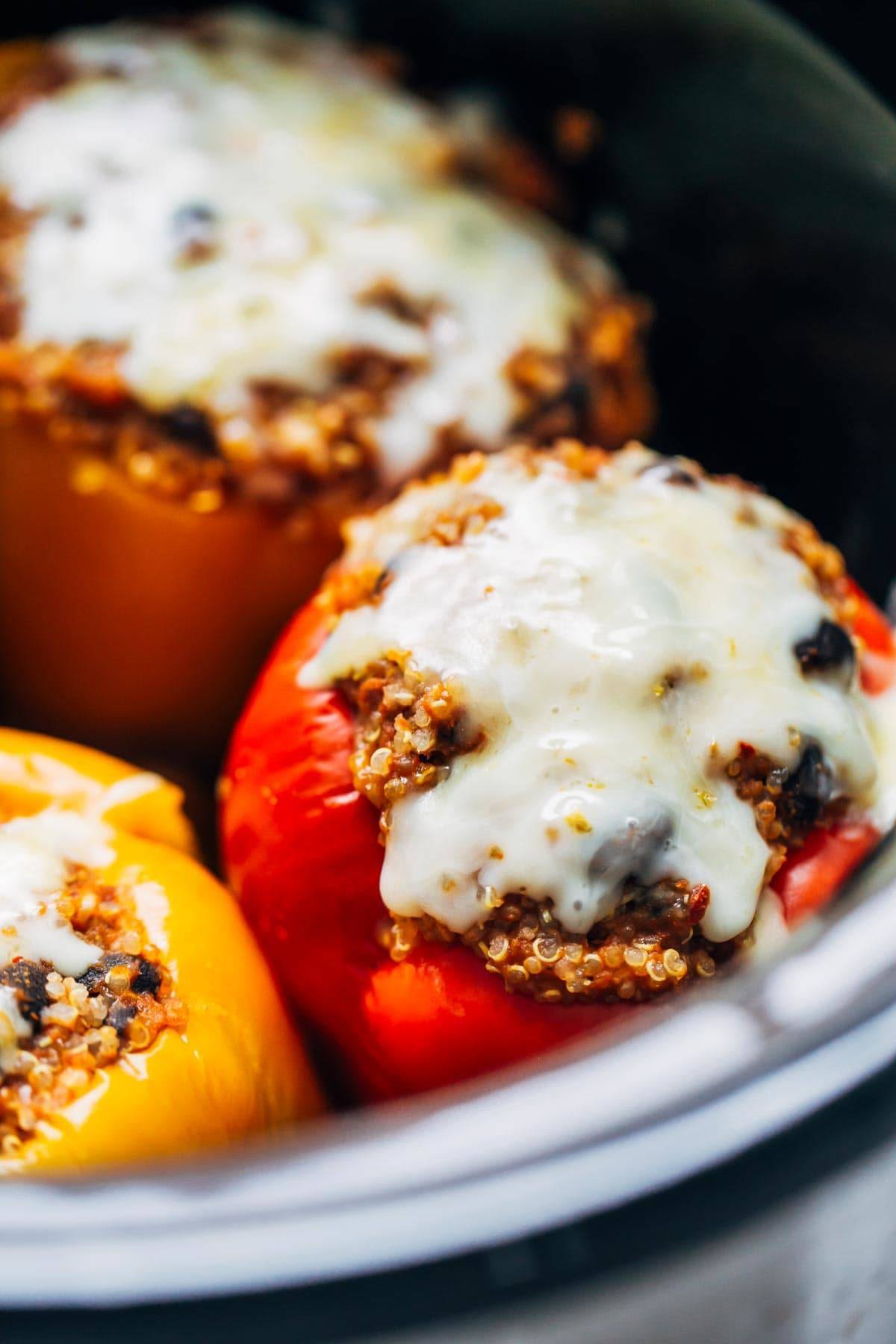 Quinoa Black Bean Crockpot Stuffed Peppers close up.