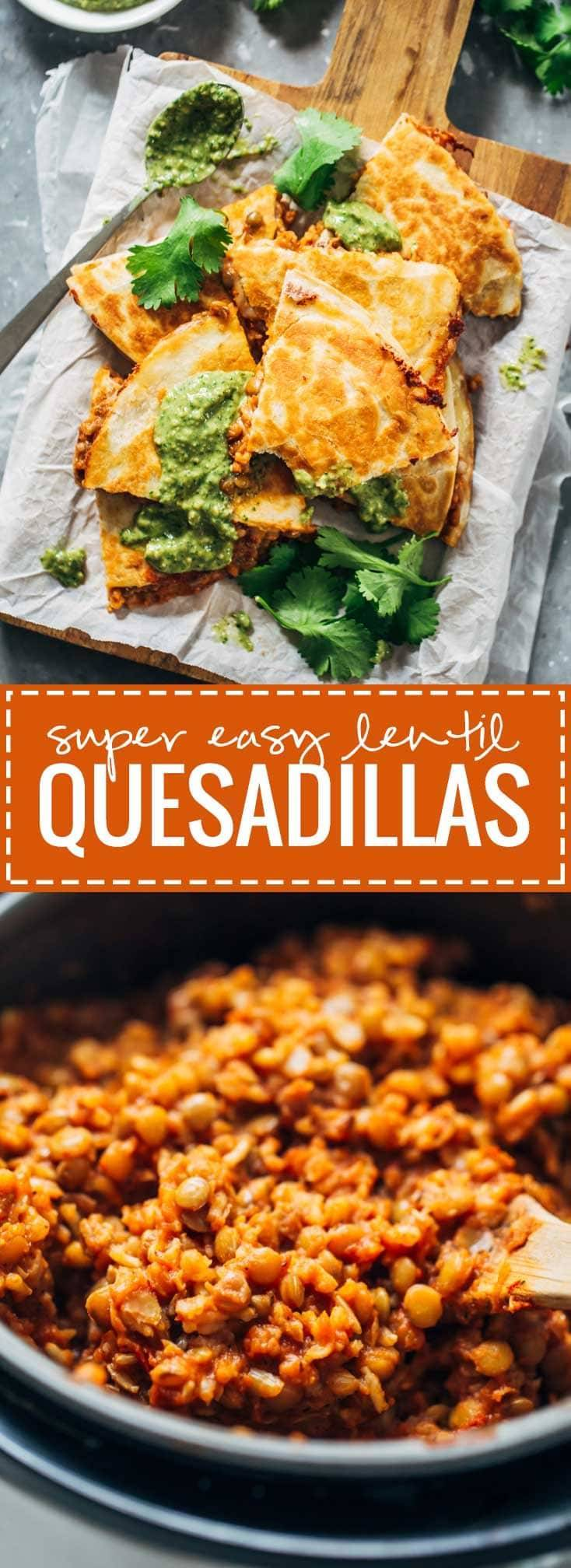 Quick and Easy Lentil Quesadillas - vegetarian comfort food! | pinchofyum.com