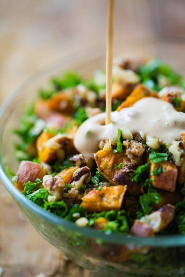 Sweet Potato Salad with dressing drizzle.