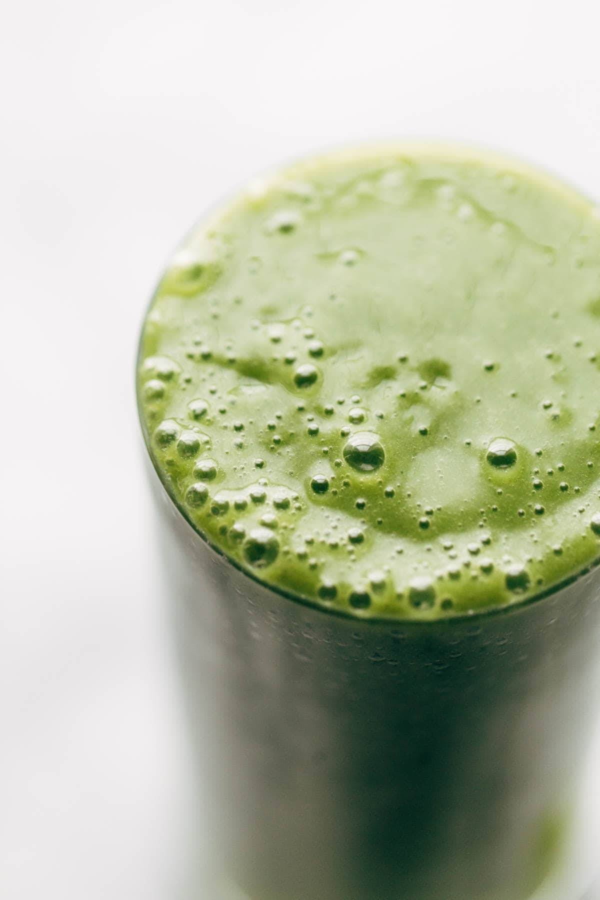 Green smoothie in glass.