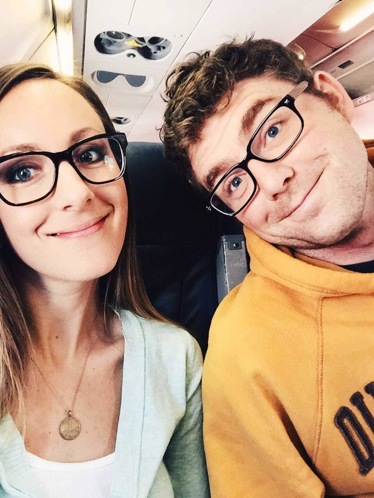 Man and woman on an airplane.