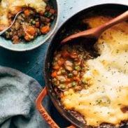 A pot of vegetarian shepherd's pie.
