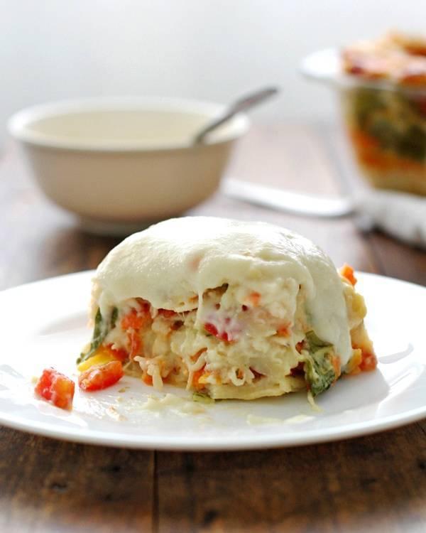 Veggie Alfredo lasagna on a plate.