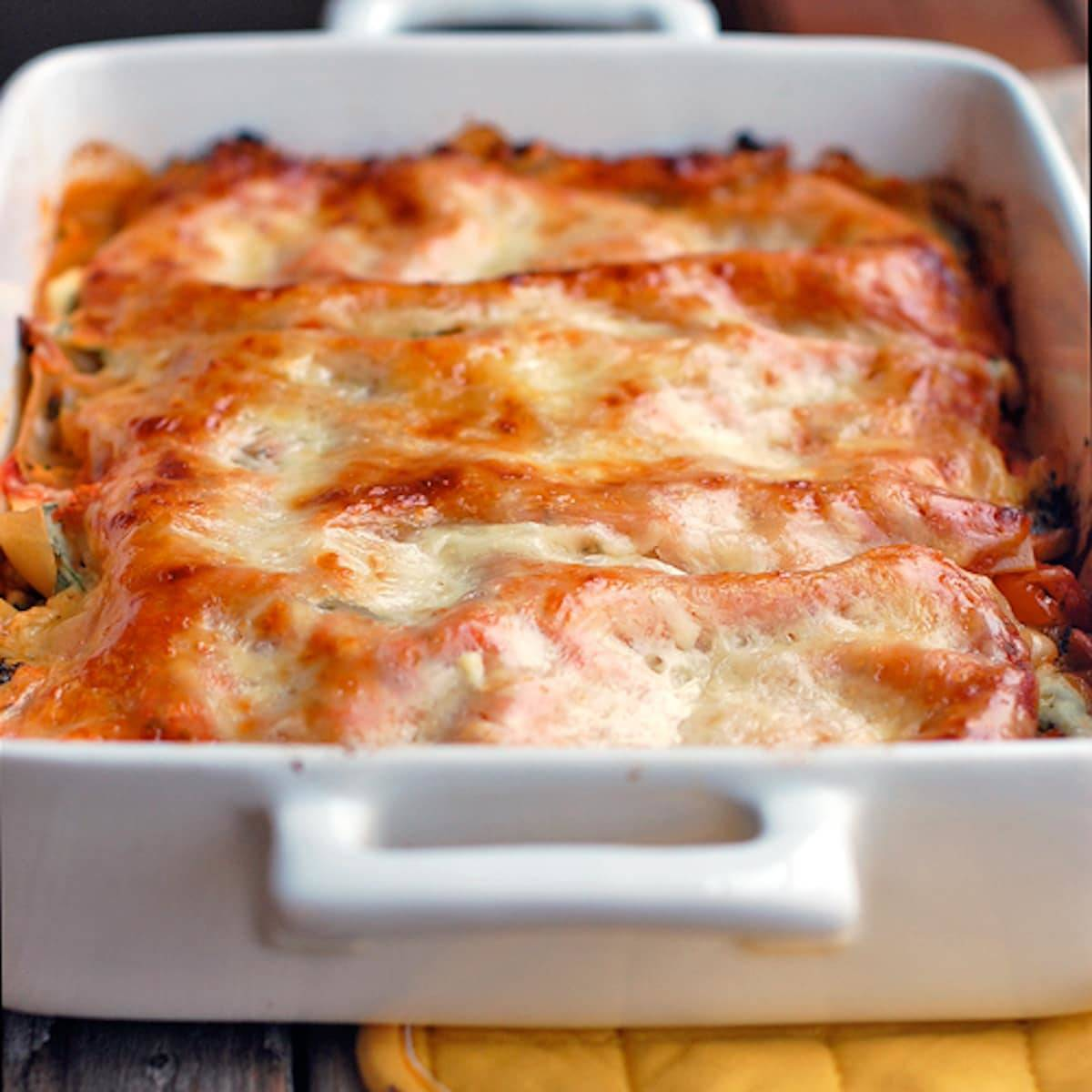 Beautiful Veggie Lasagna Full Of Chopped Broccoli, Carrots, Cauliflower, Spinach, Ricotta  Cheese,